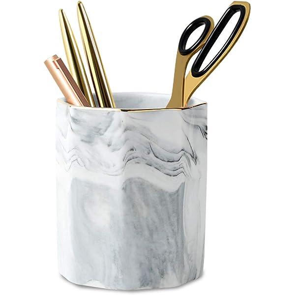 Stand for Desk Marble Pattern Pencil Cup for Girls Kids Durable Ceramic Desk Organizer Makeup Brush Holder Ideal Gift for Office Home Classroom Rose Gold WAVEYU Pen Holder