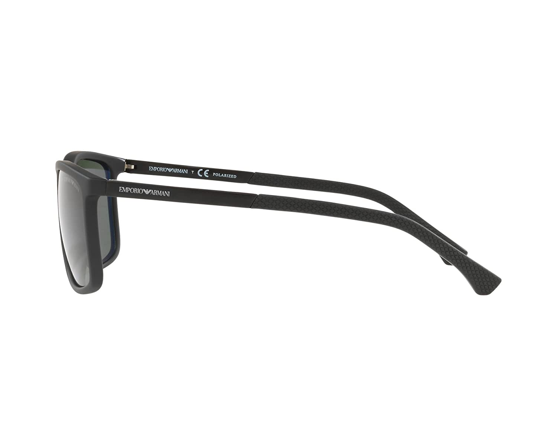 95b31f4645f Emporio Armani sunglasses (EA-4058 56539A) Matt Black - Black - Green  polarised lenses at Amazon Men s Clothing store