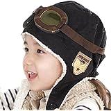 Bébé unisexe enfants hiver chaud Pilot Aviator polaire Bonnet Chapeau avec cache-oreilles