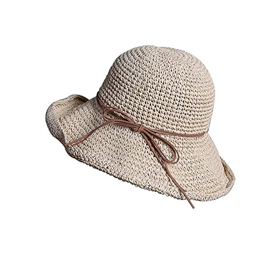 Sombrero De Paja Plegable De Las Mujeres Protector Solar Sombrero Fácil De  Igualar para El Sol 5fdfa35f2e9