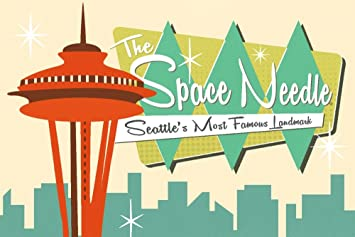 amazon com space needle mid century modern skyline and sign