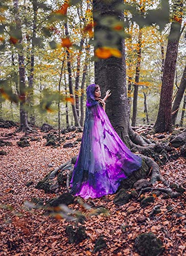 Purple nebula galaxy cloak in chiffon, celestial fashion cape with hood ()