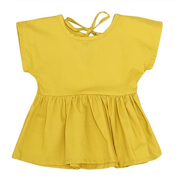 MIOIM reg; Vestido de Princesa Manga Larga Falda Plisada para Niñas Verano,Color Amarillo