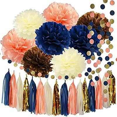 Qian's Party Bridal Shower Decorations Navy Peach Glitter Gold Birthday Decorations Tissue Paper Pom Pom Tassel Garland Wedding/Navy Peach Party Decorations/Bachelorette Party Decorations