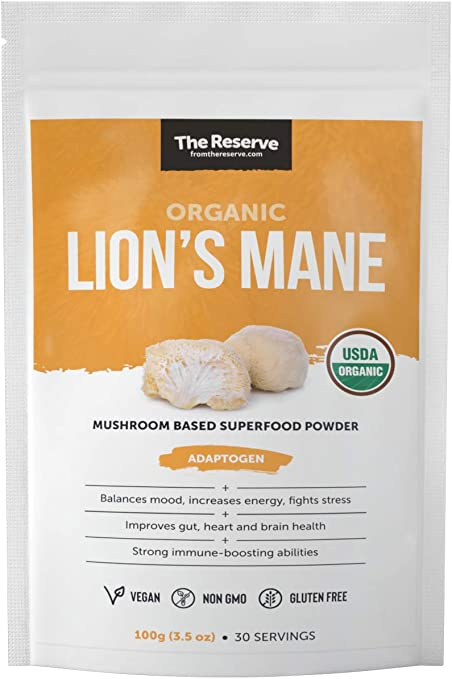 The Reserve Organic Lions Mane Mushroom Powder Supplement to Improve Gut, Heart and Brain Health (3.5 oz)