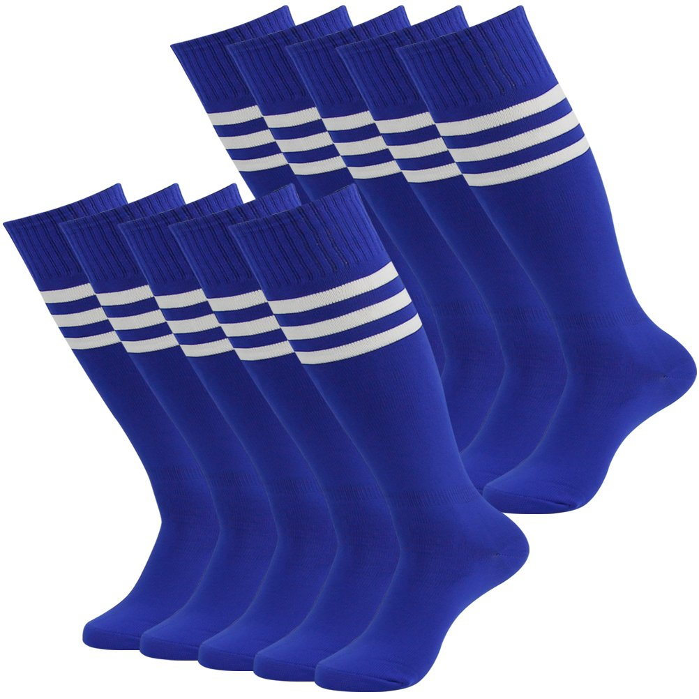 Mifidy Knee High Athletic Socks Youth Boys and Girls, Adolescence Athlete Breathable and No Burden Socks, Striped Soccer Socks Suit for All Kinds of Ball Games, 10 Pairs Blue by Mifidy