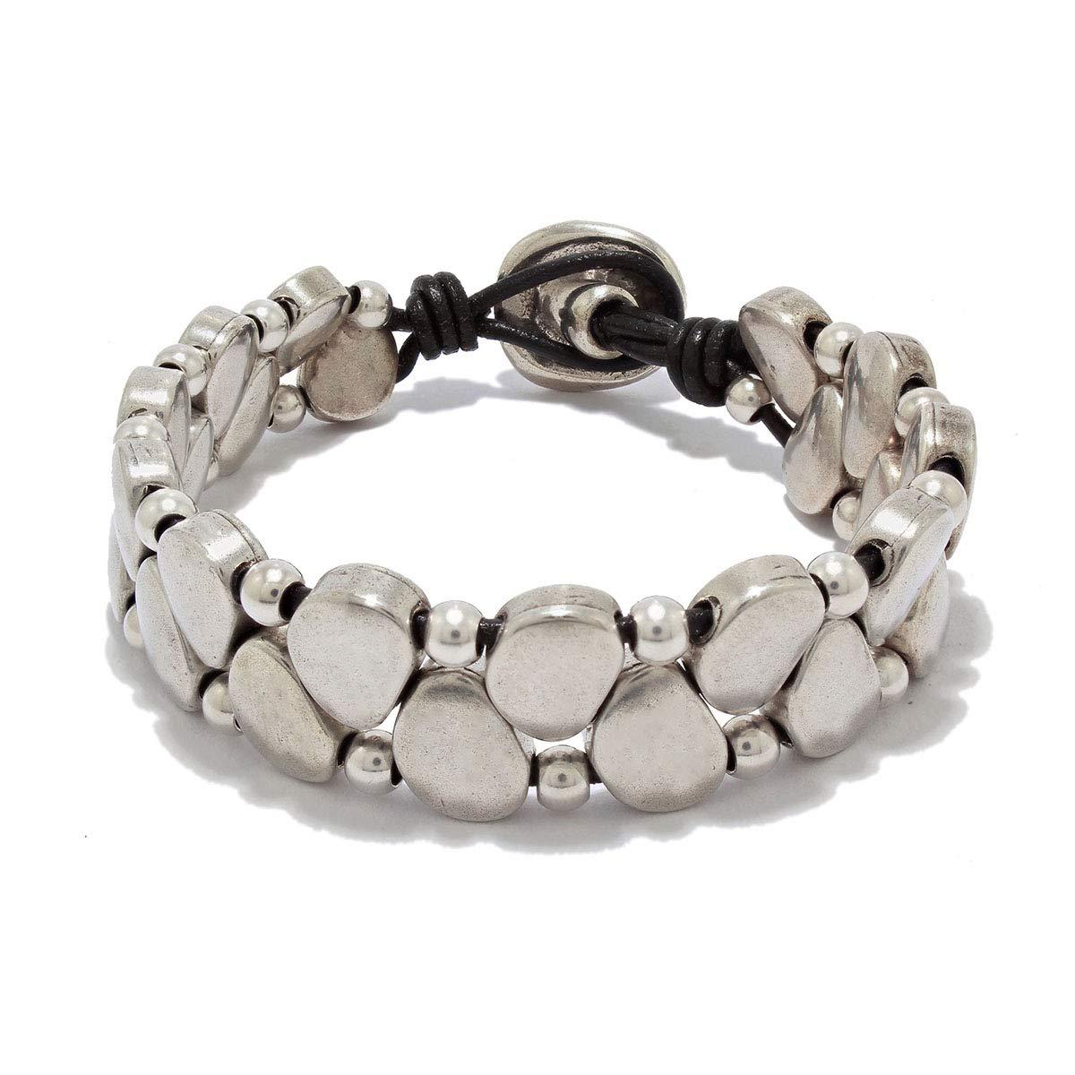 Hecho a mano, pulsera de cuero y piezas de zamak plata hecha por Intendenciajewels - Pulsera con abalorios de plata - Pulsera de cuero para mujer - Pulsera de zamak - Pulsera Boho