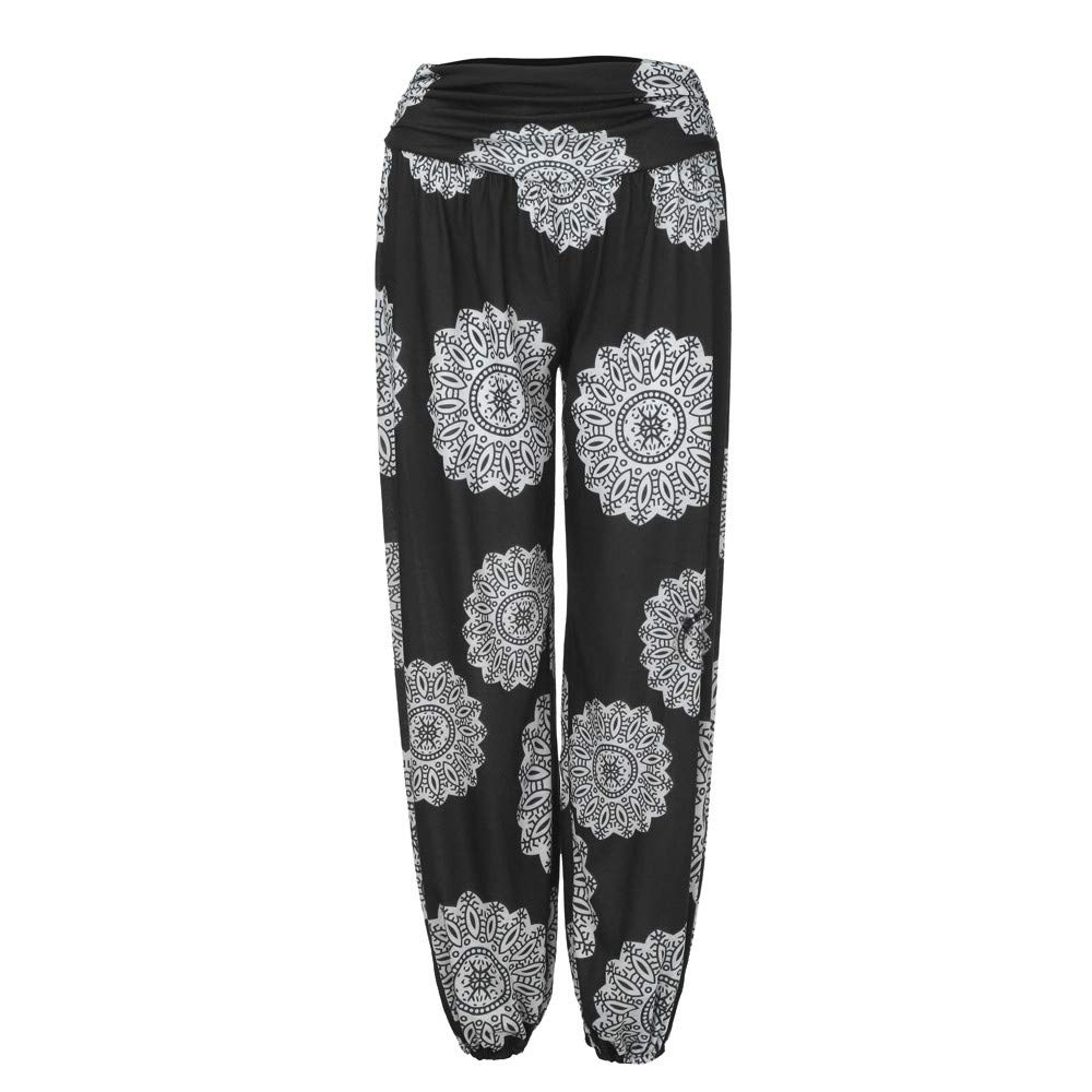 Geetobby Women Harem Pants Ethnic Print Trouser Loose Yoga Fitness Bodybuilding