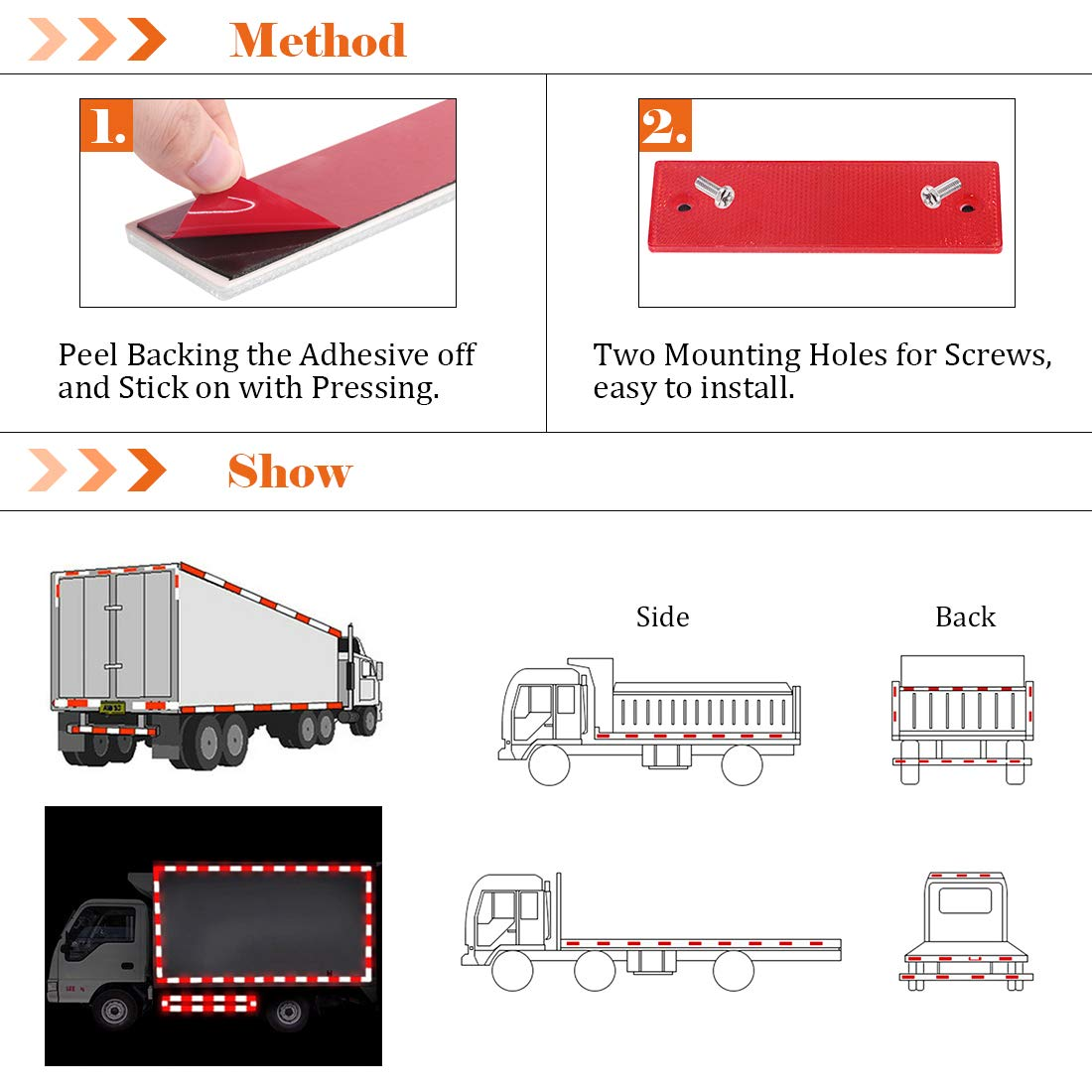 Rustark 20 Pcs Reflective Tape Waterproof Self-adhesive Reflector Conspicuity Safety Caution Warning Sticker for Truck Trailer Pickup Mailbox Red and White