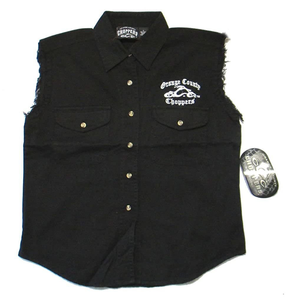Orange County Choppers Embroidered OCC Biker Ladies Black Denim Vest