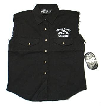 Orange County Choppers Embroidered OCC Biker Ladies Black Denim Vest ... 5124a574fdda