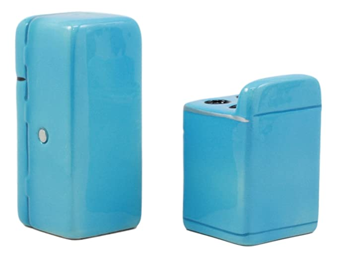 Amazon.com: Ebros Retro Blue Old Fashioned Vintage Refrigerator And Kitchen Stove Salt And Pepper Shakers Ceramic Magnetic Figurine Set 4