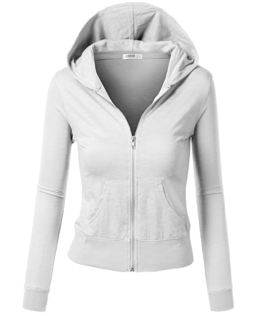 6caa8fe79 Amazon.com: ACTIVE BASIC Women's Athletic Fitted Zip up Sweat Shirt Hoodie  - White, L: Clothing