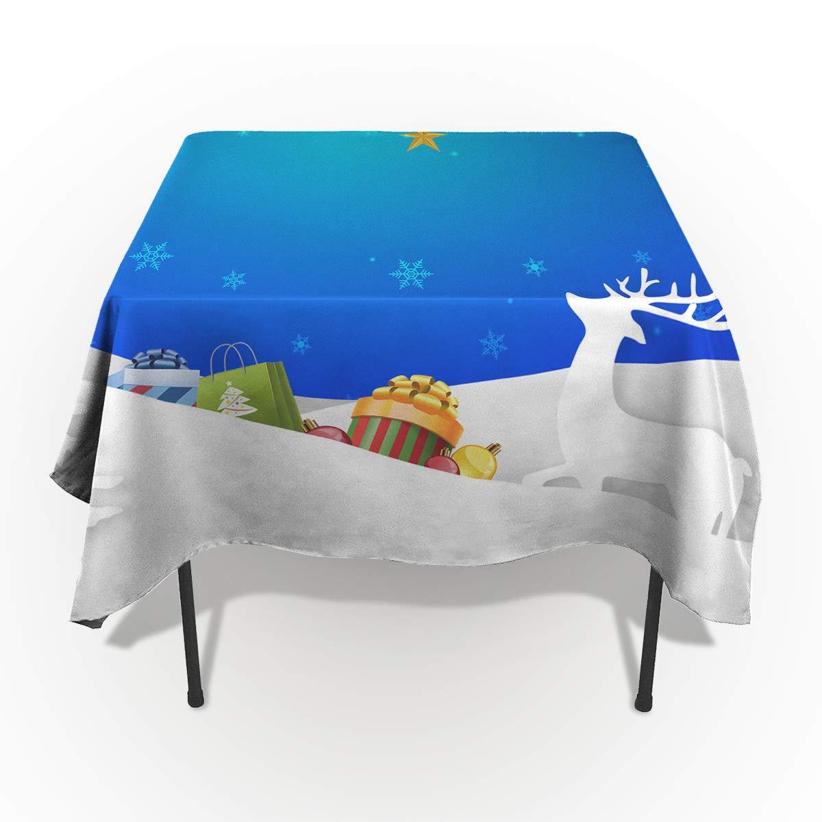 Fantasy Star 長方形ポリエステルテーブルクロス クリスマステーマ 装飾 鹿のプレゼント ベルテーブルクロス 洗濯機洗い可 テーブルカバー 装飾テーブルクロス キッチン ダイニングパーティー 60