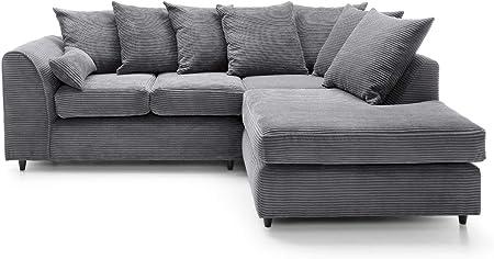 Porto Jumbo Cord Corner Sofa, Settee, Full Chenille Cord Fabric (Grey Right): Amazon.co.uk: Kitchen & Home