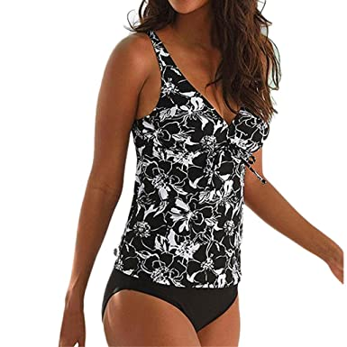 240d1d955b Amazon.com: general3 Women Two Pieces Tankini Set Deep V Plunge High  Waisted Tummy Control Print Swimsuit Monokini Bikini Bathing Suit: Clothing