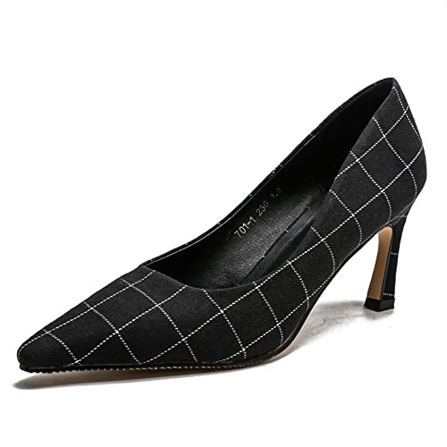 d2b4b9d4583 Women Pointed Toe Pumps Stiletto Heels Plaid Slingback Shoes(Black 39 8 B(