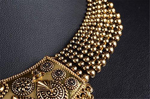 Thkmeet Vintage Choker Coin Tassels Hippie Boho Bib Statement Necklace Festival Gypsy Jewelry