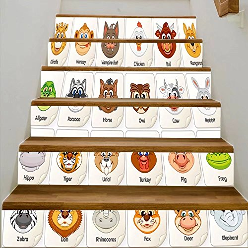 vanfan 3D Creative game card or icon with cute animal faces vector clip art for children items for board DIY Refurbished Stairs Stickers Removable Waterproof Stairs Mural(39.3