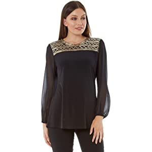 1e2cbd1f9fc49 Roman Originals Women Embellished Yoke Top - Ladies Party Smart Casual Long  Sleeve Evening Going Out