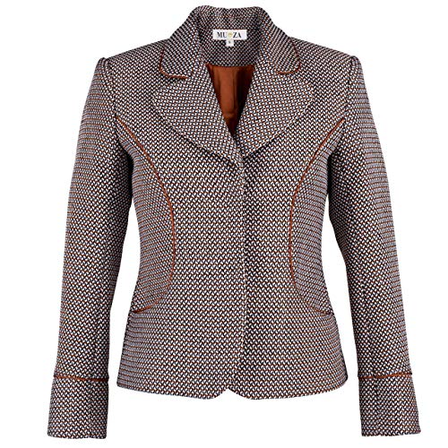 Satin Trimmed Tailored Tweed Jacket Casual Blazer