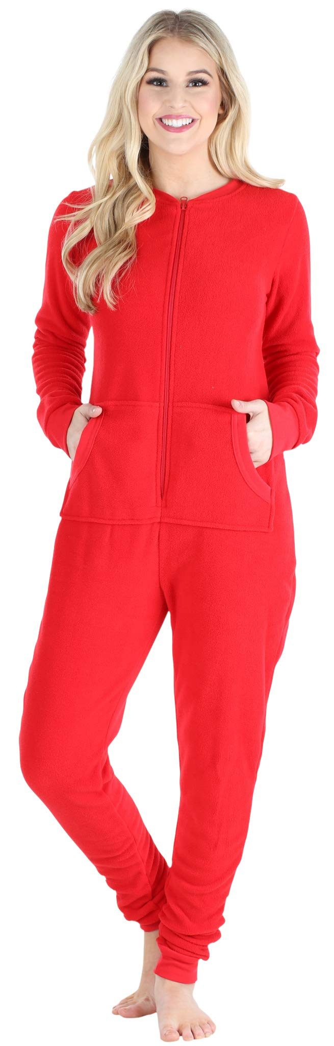 Sleepyheads Women's Fleece Non-Footed Solid Color Onesie Pajamas Jumpsuit (SH1018-4033S-XL) by Sleepyheads