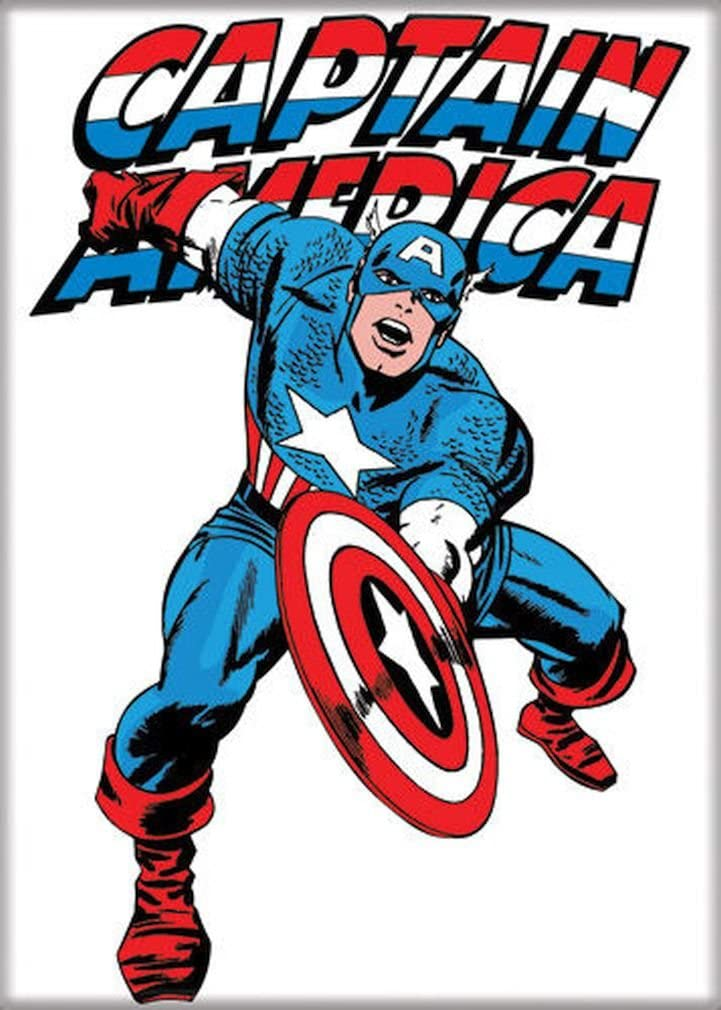 "Ata-Boy Marvel Comics Classic Captain America 2.5"" x 3.5"" Magnet for Refrigerators and Lockers"