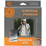 Survival Gear Poncho w/ Bonus of 3 Printable Survival Guides , Mylar & Reflective