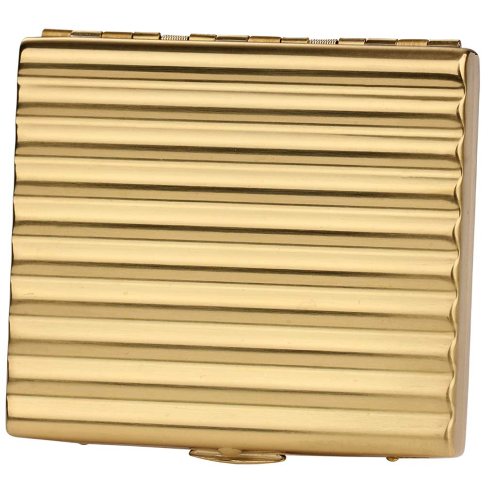 Men's Pure Copper Cigarette Case, Water Ripple Cigarette Box Can Hold 20 Cigarettes for Smokers' Gifts 3.42 * 3.23 * 0.67'',Gold