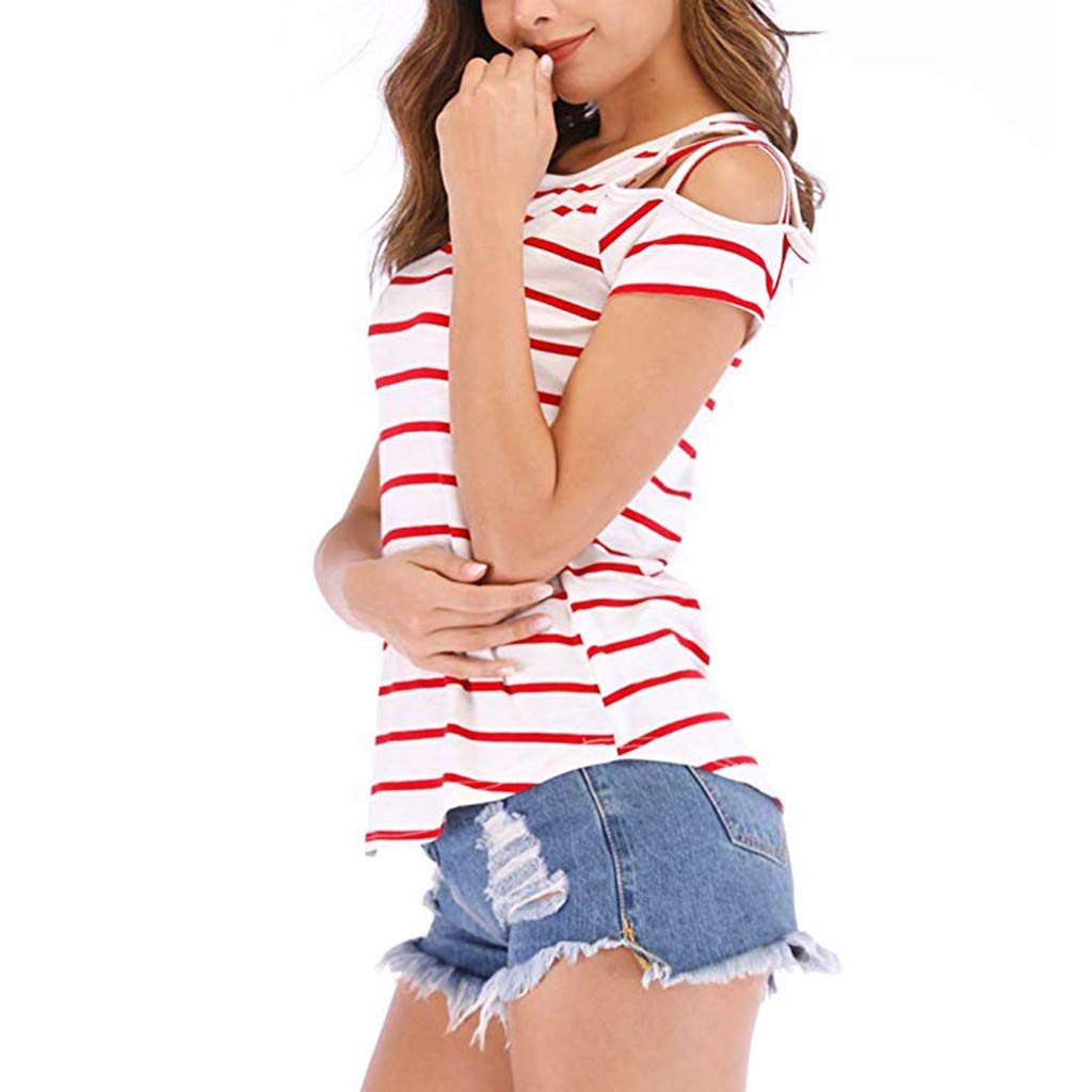 YFancy Summer Womens Girl Strappy Cold Shoulder Striped T Shirt Loose Casual Crew Neck Short Sleeve Tank Tops