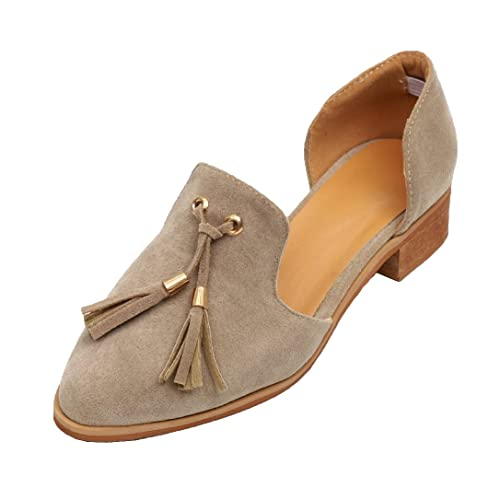 Mocasines Zapatos de Mujer de Cuero Mujer Borla Zapatos de Ballet Mocasines Zapatos Mujer Primavera Verano Informal Plano Cómodo Cabeza Mocasines Zapatillas ...