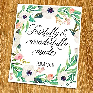 Psalm 139:14 Fearfully And Wonderfully Made Print (Unframed), Watercolor Flower, Scripture Print, Bible Verse Print, Christian Wall Art, Nursery Print, New Baby Gift,8x10 , TC-028