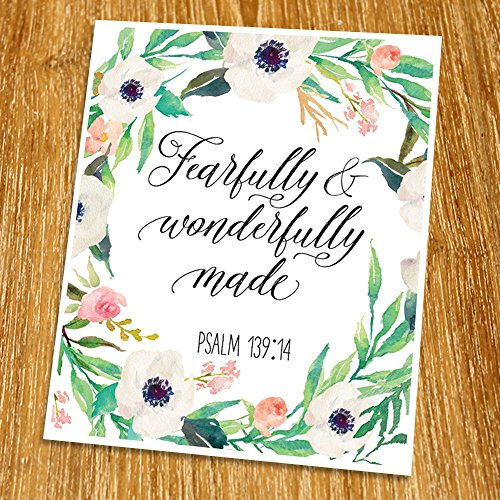 (Psalm 139:14 Fearfully And Wonderfully Made Print (Unframed), Watercolor Flower, Scripture Print, Bible Verse Print, Christian Wall Art, Nursery Print, New Baby Gift,8x10