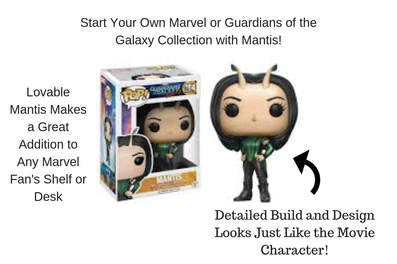 Adorable Mantis Toy Figurine Detailing Designed for Ages 5 and Up 12778 Accessory Toys /& Games Miscellaneous Funko POP Vinyl Figures Movie Collection: Guardians of the Galaxy 2