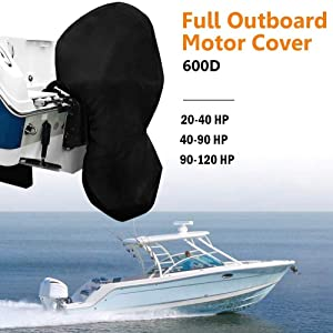 kemimoto Full Outboard Motor Cover, Boat Engine Cover, Trailerable Protector 600D 20-40HP 40-90HP 100-150HP Horsepower, Black Heavy Duty Waterporrf Thick Polyester Fabric
