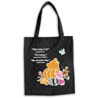 Inspirational Winnie The Pooh Quote Natural Cotton Canvas Reusable Hand Made Tote Bag - What Day Is It Pooh Classic Gift…