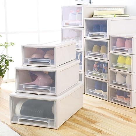 Caja de almacenamiento cajón transparente Caja de almacenamiento de plástico armario caja zapatos de acabado ropa