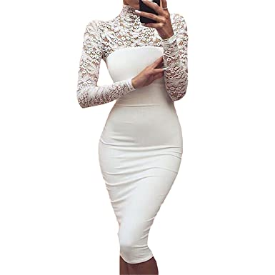 4e1ade9433 Cheryl Bull Elegant Women White Lace Dress Winter Turtleneck Long ...