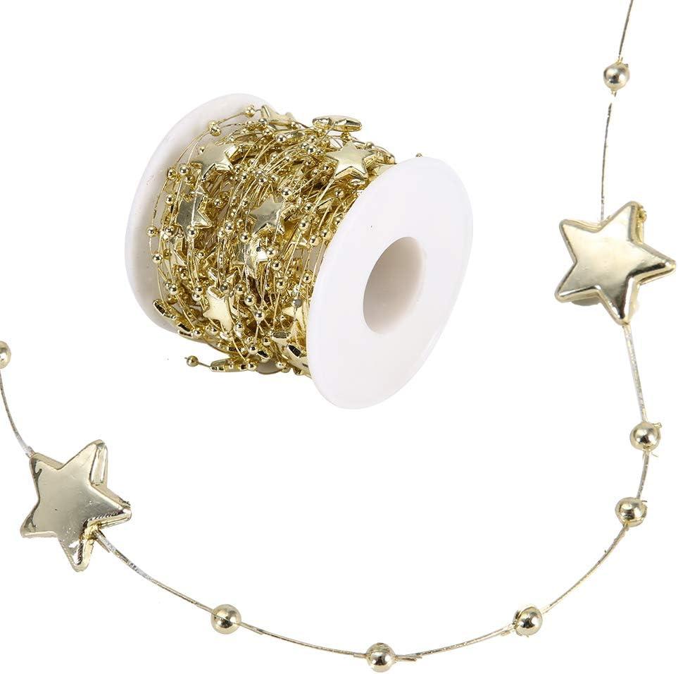 Pearl Bead Roll ABS Bead Chain Estrella de cinco puntas Cadena decorativa DIY Wedding Party Home Decoration, 10 metros/rollo(dorado)