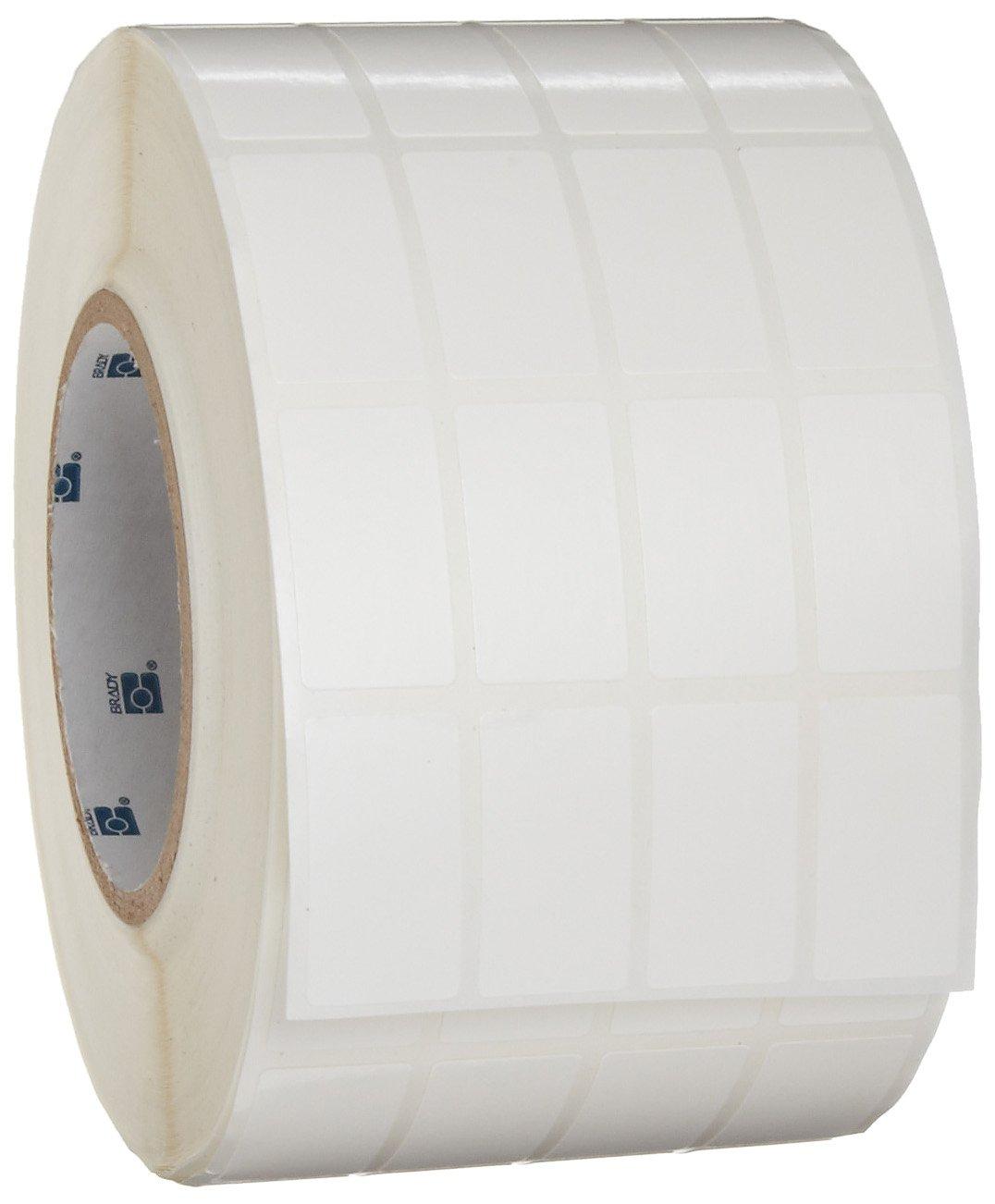 Brady THT-165-498-5 0.8'' Width x 1.437'' Height, 3.7'' Web Width, B-498 Vinyl Cloth, Semi-Gloss Finish White Thermal Transfer Printer Label (5000 per Roll)
