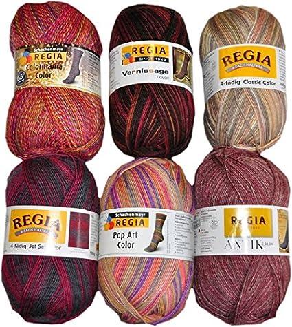 600 g (6 x 100g) Calcetines Regia lana Mix 01 color 4 de lana