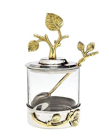 Godinger Silver Art Leaf Jam Jar With Spoon by Godinger