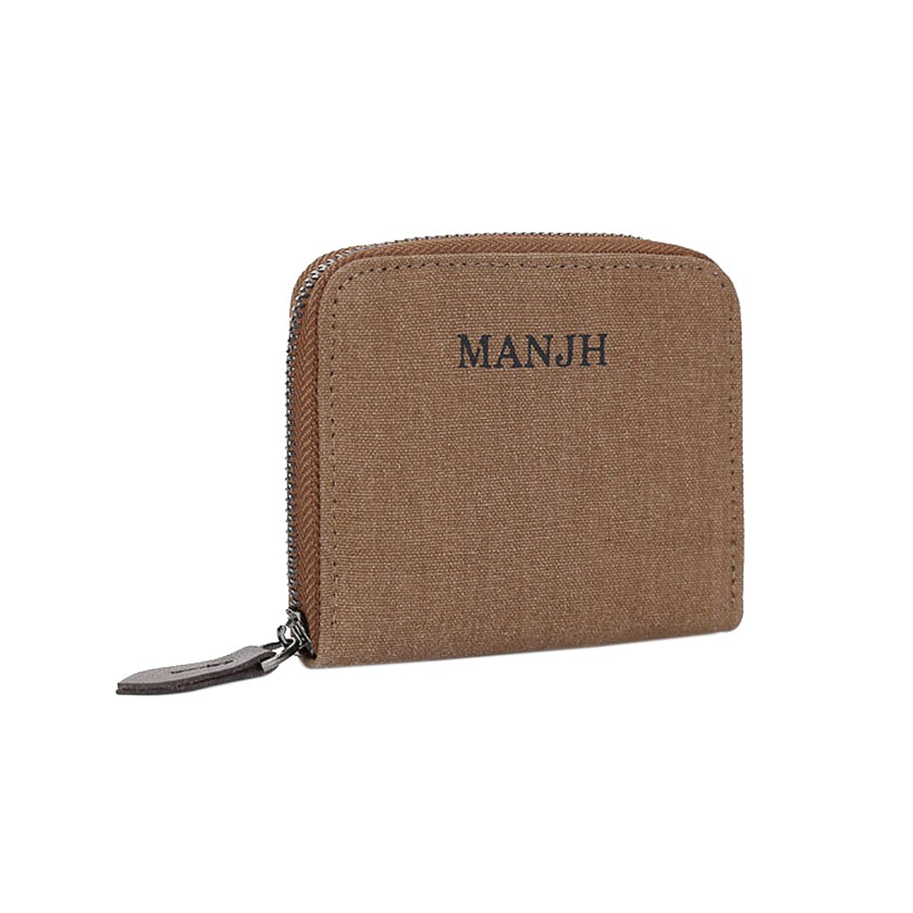 Liying Men Canvas Wallet Bifold Zip Around Letter Patterned Card Holder Coin Purse Clutch Money Clip