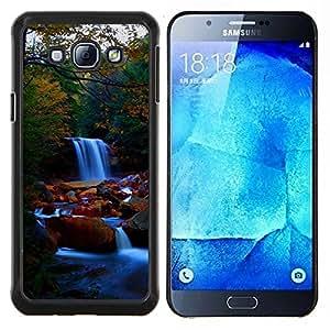 EJOOY---Cubierta de la caja de protección para la piel dura ** Samsung Galaxy A8 A8000 ** --Cascada Naturaleza Forrest