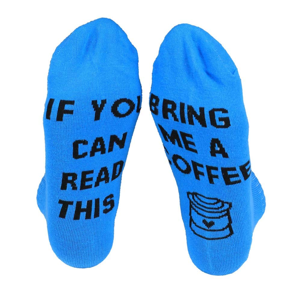 Bluelans If You Can Read This Bring Me A Coffee Letter Printed Men Women Cotton Ankle Socks Funny Socks Novelty Xmas Birthday Gifts