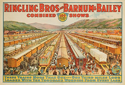 (Ringling Bros and Barnum and Bailey - 100 Railway Cars USA c. 1923 - Vintage Advertisement (9x12 Fine Art Print, Home Wall Decor Artwork Poster))