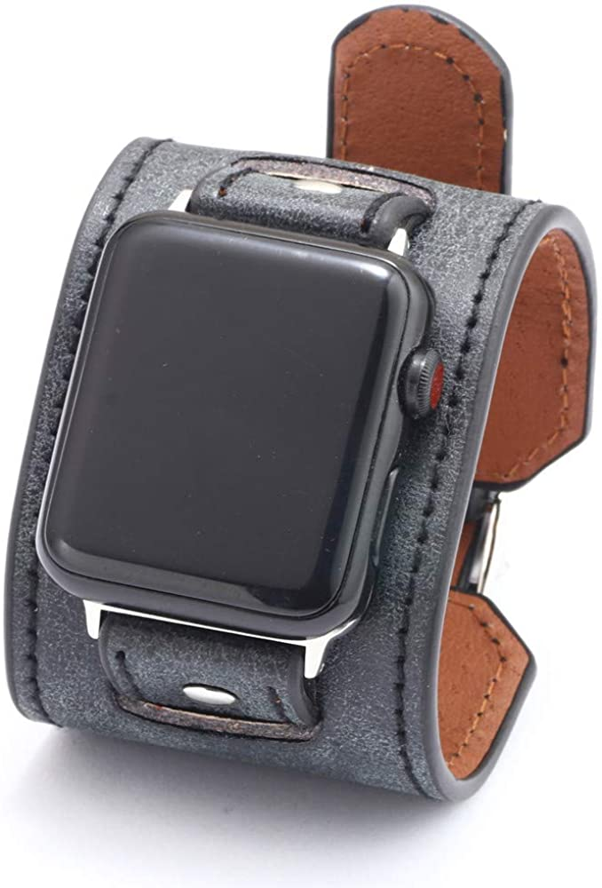 NIGHTCRUZ Compatible with Leather Apple Watch Band - Wide Leather Adjustable Bracelet for Apple Watch Series 5/4/3 (Black, 42mm/44mm)