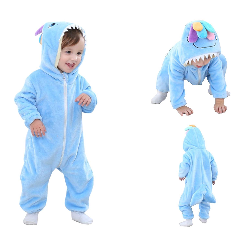 Elonglin Newborn Unisex Baby Hooded Romper Cartoon Pajamas Thicken Suit