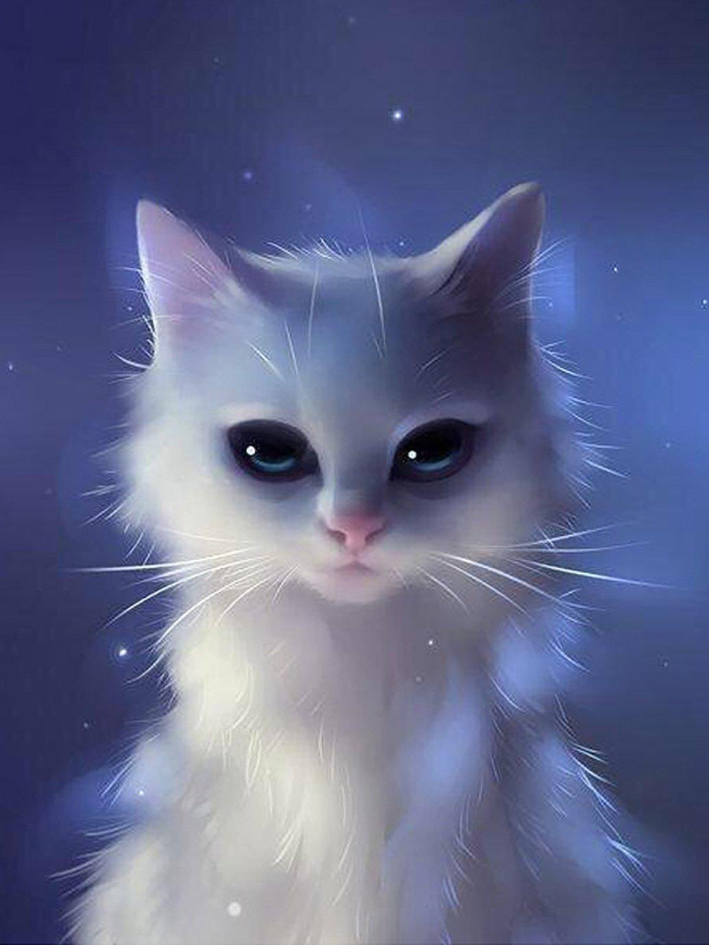 zhixing 5D DIY Blanco Gatito Diamante Pintura Equipo Por Número Kit Diamante de imitación Punto de Cruz Completo Resina Pegado Mosaico Gato Animal Cuadro Habitación Decoración , square diamond , 5067 cm