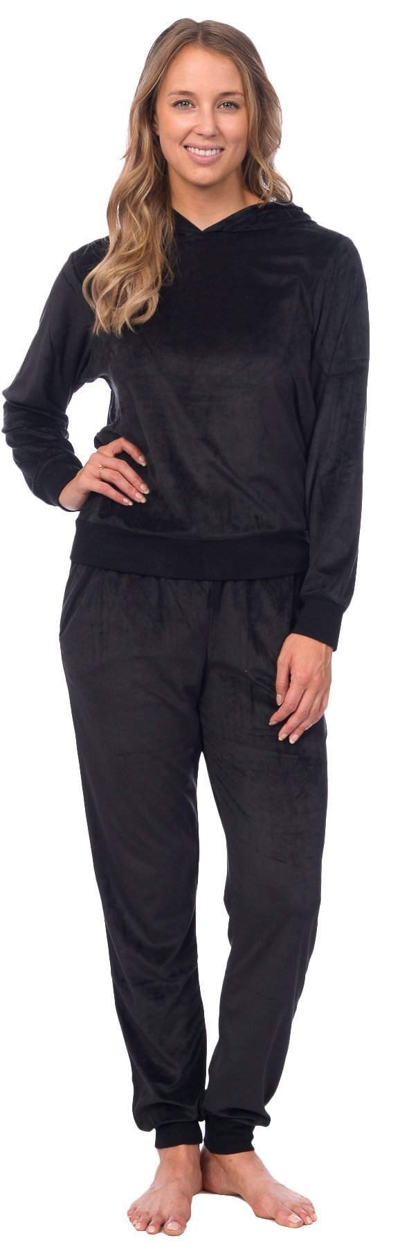 Pink Lady Womens Velour Pullover Hoodie and Bottoms Sporty Tracksuit (Jet Black, L)